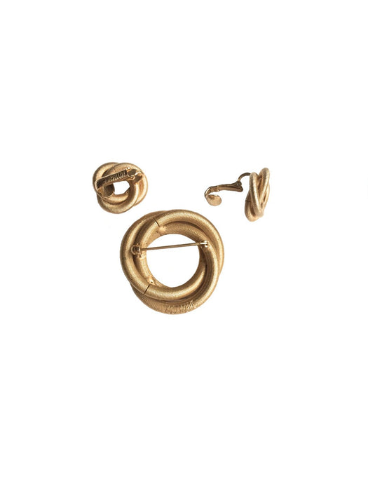 60s Vintage Sarah Coventry Signed LOVE KNOT Gold Tone  Swirl Knot Brooch & Clip On Earrings Set