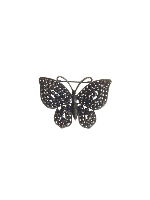 50s Vintage Weiss Signed Black Rhinestone Butterfly Pin Japanned Figural Bug Brooch