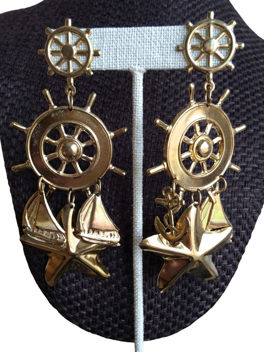 80s Huge Vintage Gold Plated Nautical Sailboat Ship Wheel Anchor Starfish Pierced Earrings with Dangles