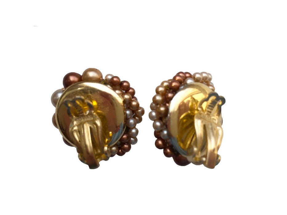 50s Japan Signed Twisted Cluster Vintage Glass Bead Clip On Earrings, Cream Champagne Toffy Caramel Glass Bead Earrings, Mother's Day gift