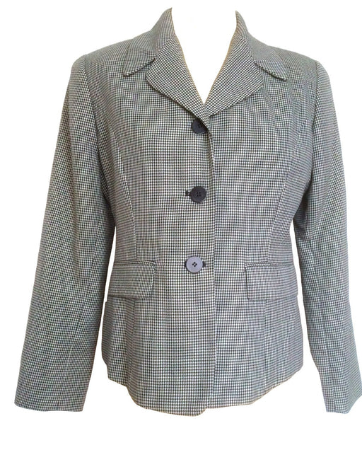 80s Ann Taylor Classic Wool Herringbone Short Jacket Ann Taylor Size 6 Petite Black & White Structured Jacket Collared Jacket