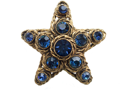 Rare 60s HAR Signed Statement Chunky Rope Antique Gold Tone Sapphire Blue Rhinestone Star Brooch Pin, Designer signed large star gift brooch