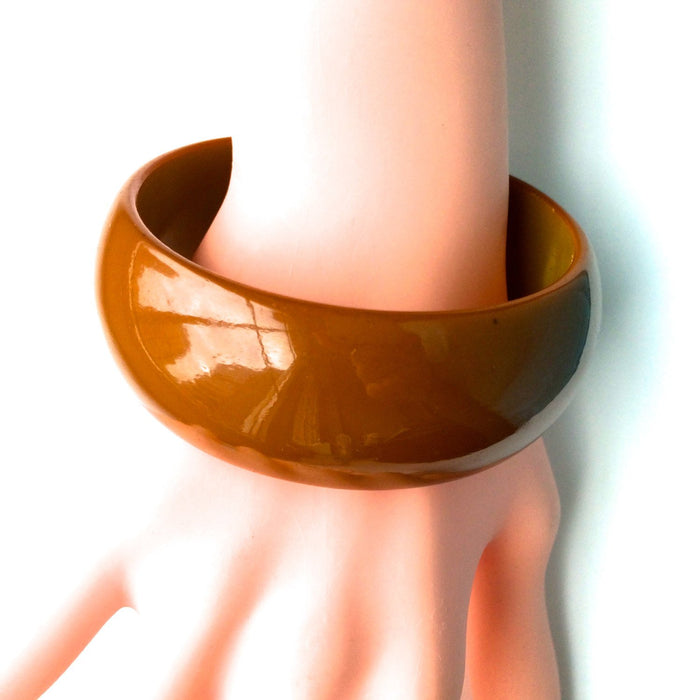 30s-50s Vintage Bakelite Bangle Bracelet Honey Amber Brownish Deep Caramel with Olive Green Interior Two Tone Tested Authentic