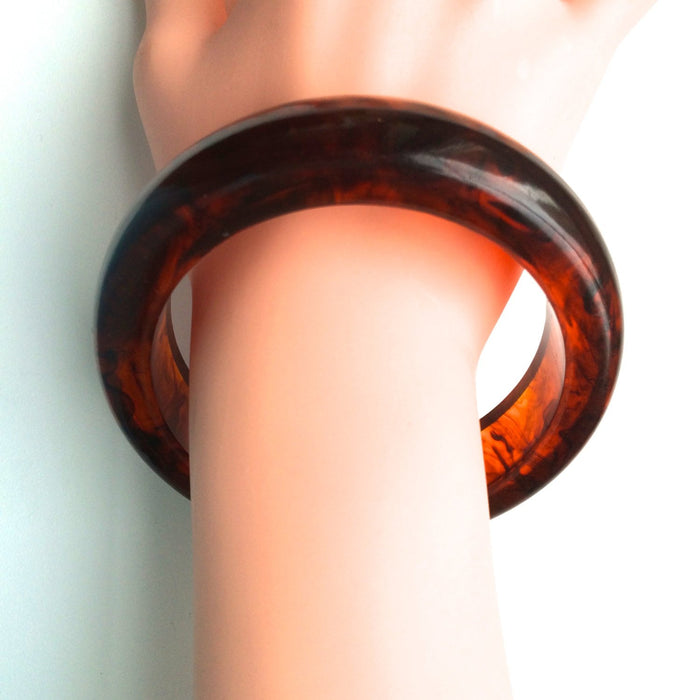 40s Vintage Chunky Root Beer Swirl Transparent Domed Bangle Bracelet Tested Authentic