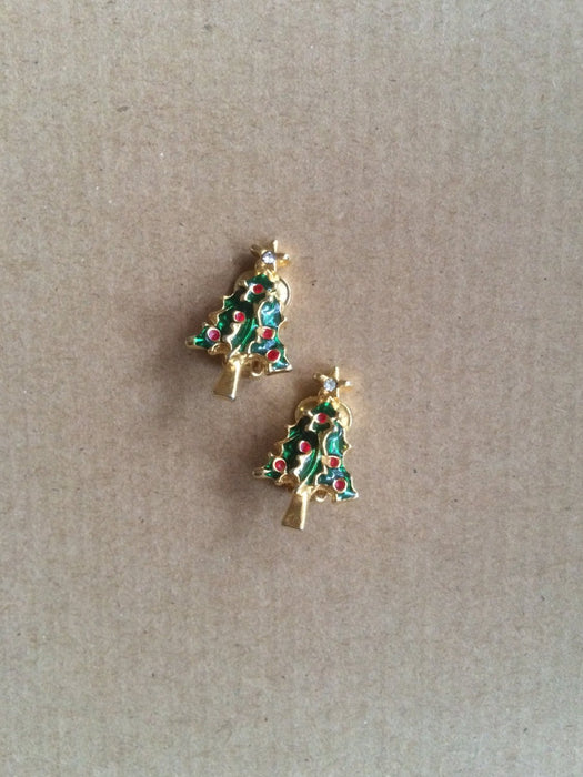 Vintage Gold Tone Green & Red Enamel and Crystal Rhinestone Star Christmas Tree Clip Earrings Holiday Season Festive Party Gift for her
