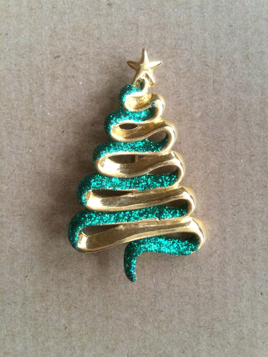 Danecraft Signed Large Vintage Green Glitter Gold Tone Christmas Tree Brooch Pin Holiday Season Festive New Year Party Gift for Her