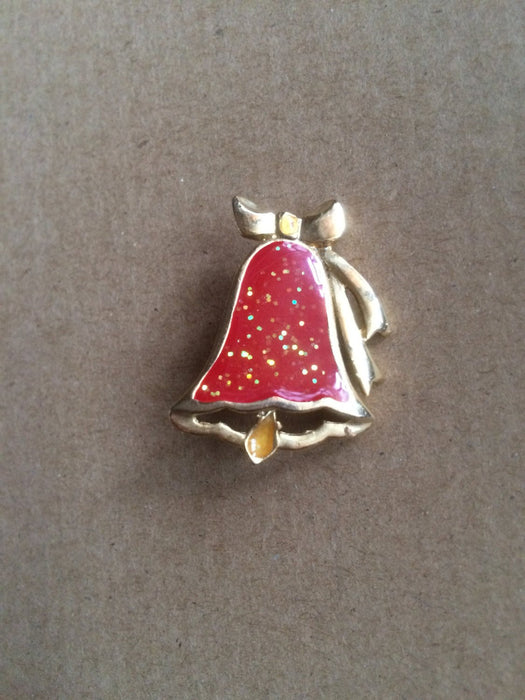 Vintage Gold Tone Christmas Red Glitter Enamel Bell Brooch Pin Pendant Holiday Season Festive New Year Party Gift for Her