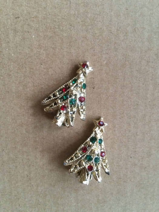 Vintage Christmas Tree Multicolor Rhinestone Clip Earrings Festive Holiday Season New Year Party Gift for Her