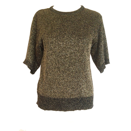 80s Vintage Gold and Black Bronze Metallic Knit Crew Neck Sweater Top Christmas Holiday wear, Christmas gift, gift for her, New Year Party
