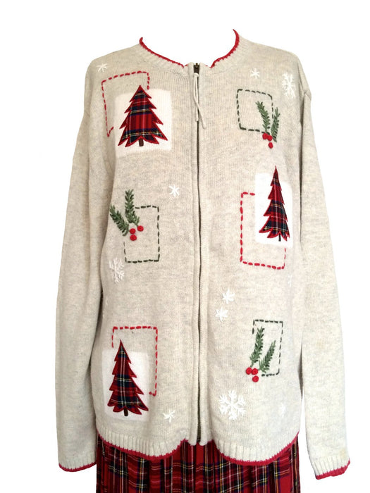 Vintage Christmas Sweater Cardigan Heathered Tan Tartan Christmas Tree and Holly Appliquéd Embroidered Large Christmas wear, Christmas gift
