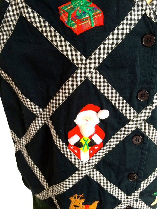 Vintage Christmas Black & White Plaid Embroidered Holiday Vest Medium Christmas Holiday wear, Christmas gift, gift for her, New Year Party