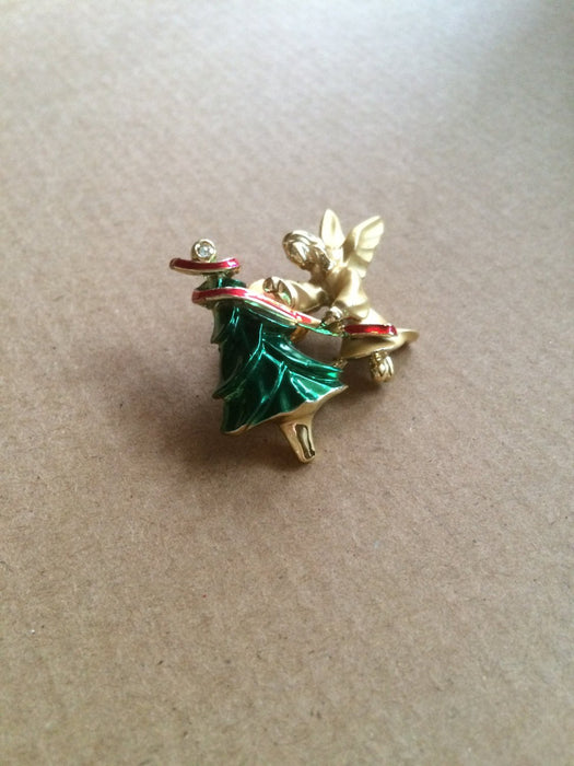 Vintage Giusti Signed Angel Gold Tone Christmas Tree Enamel & Rhinestone Brooch Lapel Pin Holiday Season Festive New Year Party Gift for Her