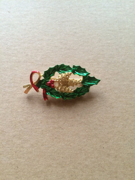 Vintage GERRY'S Signed Gold Tone Holly Victorian Pinecone Christmas Scatter Brooch Pin Festive Holiday New Year Party Gift for Her