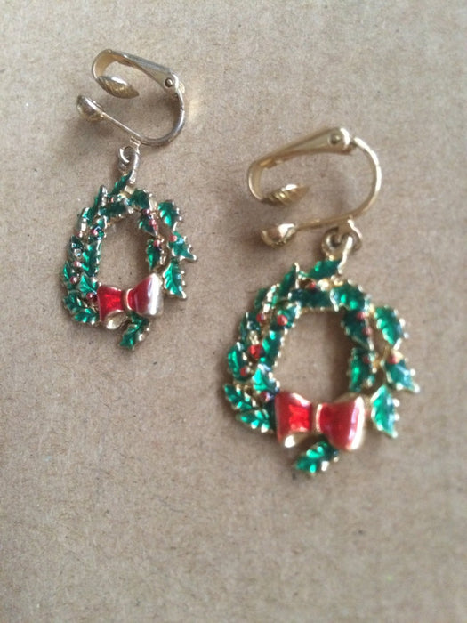 Vintage Gold Tone Enameled Christmas Wreath Large Dangle Clip On Earrings Festive Holiday Season New year Party Gift for Her
