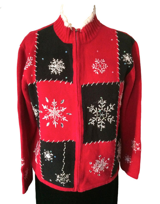 Vintage Christmas Sweater Cardigan Red & Black Embroidered Zip Front Snowflakes Jewels Small-Medium, Christmas Party wear, Christmas gift