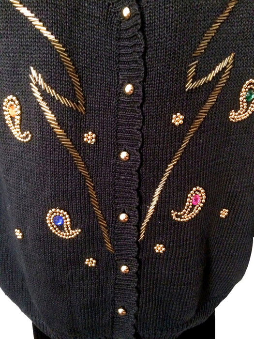 80s Black Beaded Sweater Embellished with Gold Beads Jewel Rhinestones, Large Christmas wear Christmas gift, gift for her, New Year Party
