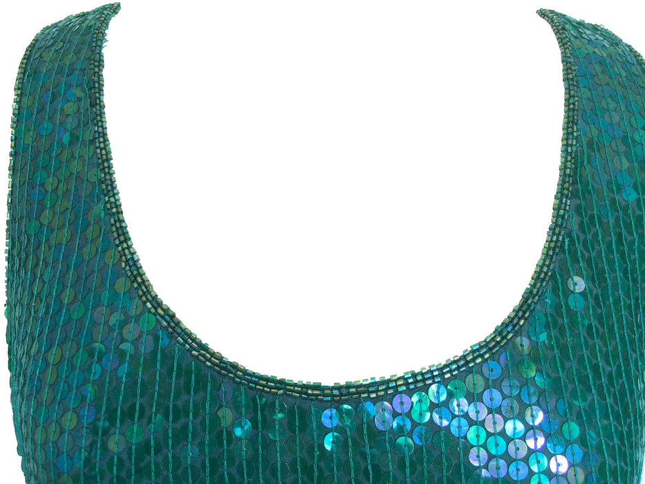 80s Vintage Emerald Jade Rainbow Sequin Sparkling Long Tunic Tank Party Top/Dress