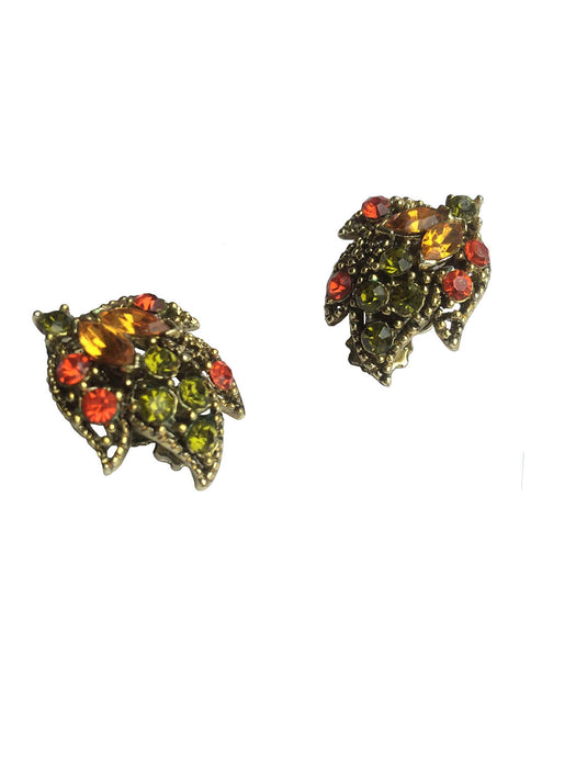 50s-60s Vintage Sparkling Topaz Peridot & Orange Rhinestone Leaf Design Clip Earrings, Easter gift, gift for her