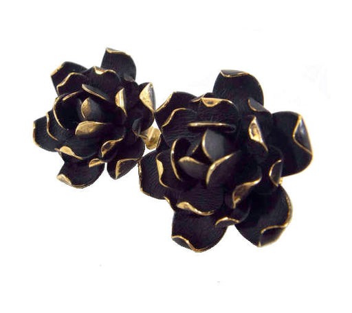 60s RARE Vendome Signed Black Velour Enamel Golden Edged Rose Flower Clip On Earrings Vintage, gift for her