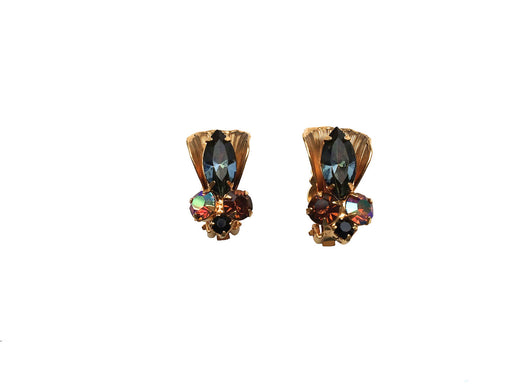60s Juliana Rhinestone Earrings Autumn Colors Tourmaline Vintage Collectible Designer Costume Jewelry DeLizza & Elster Jeweller GIFT FOR HER