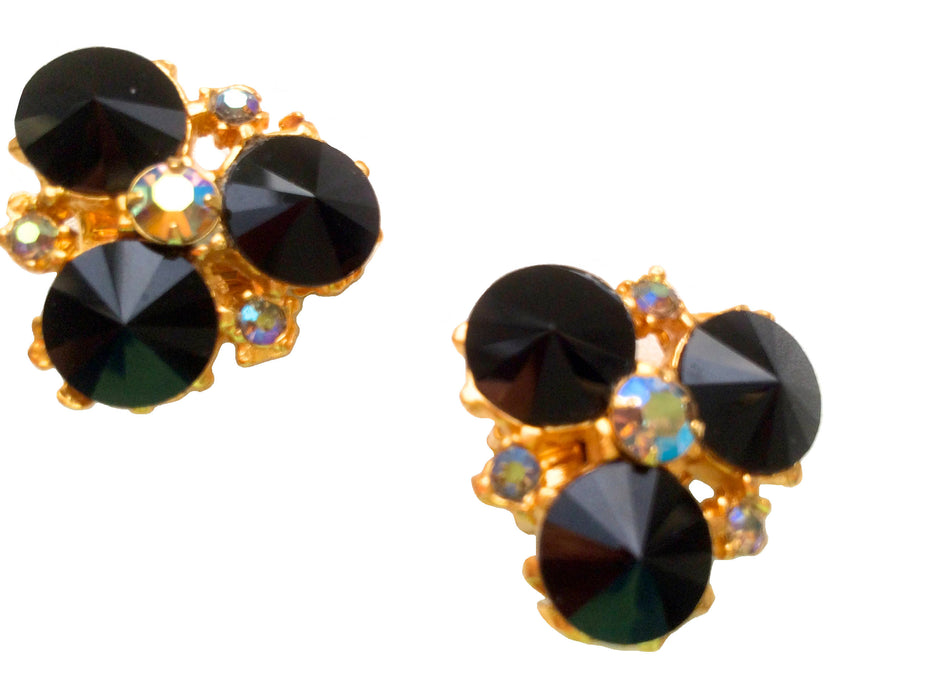 Rare Vintage Edlee Signed Black Rivoli Rhinestone Clip On Earrings with AB Accents