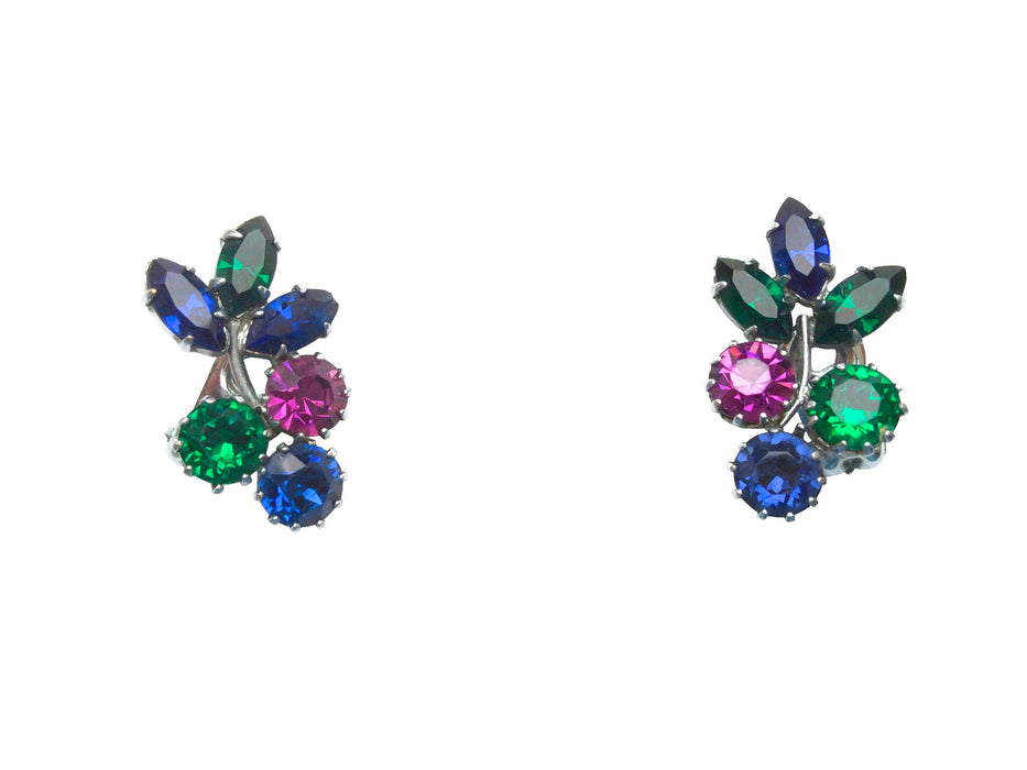 60s Vintage Multicolor Rhinestones Earrings, Colorful Deep Hued Glass Silver Tone Flower Design Clip Ons