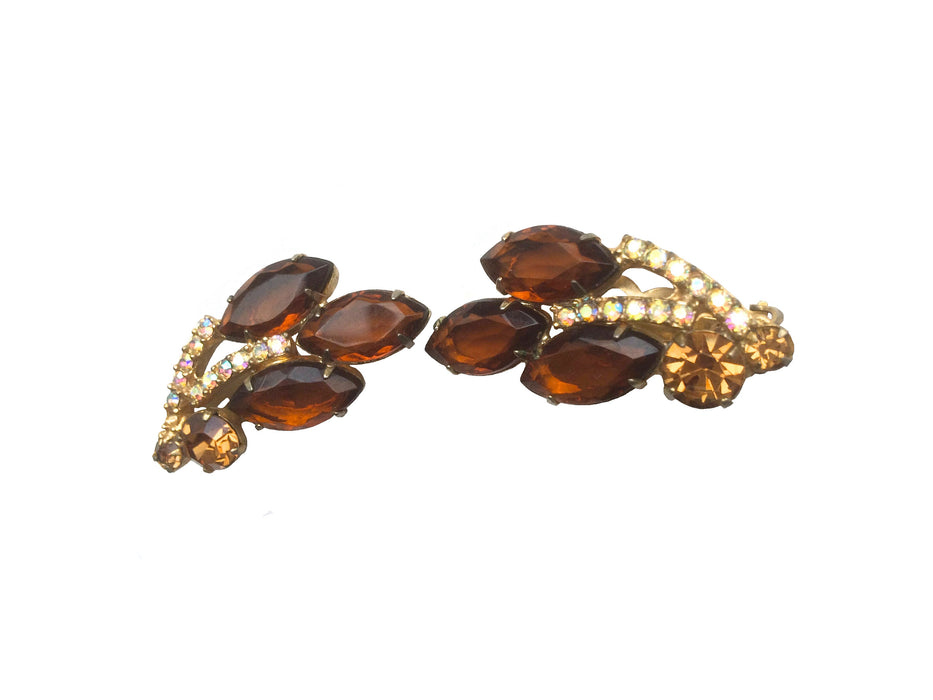 60s D and E Juliana Ear Climber Earrings Brown Topaz & Aurora Borealis Crystals Vintage, Mother's day gift, gift for her