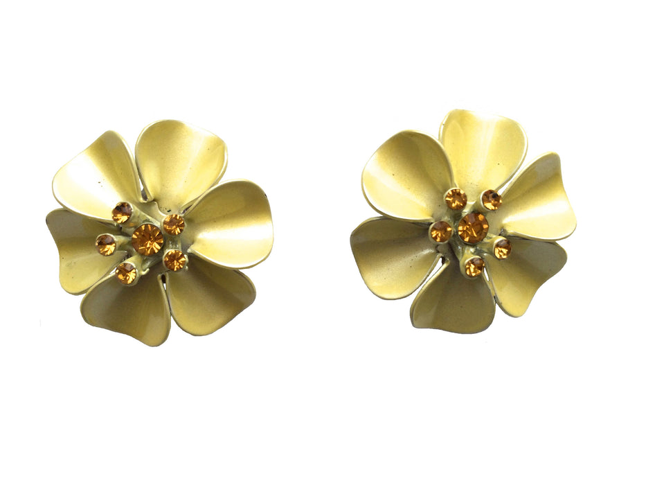Vintage Pretty Yellow Enamel Orange Rhinestone Flower Clip On Earrings, gift for her, summer jewelry, beach jewelry