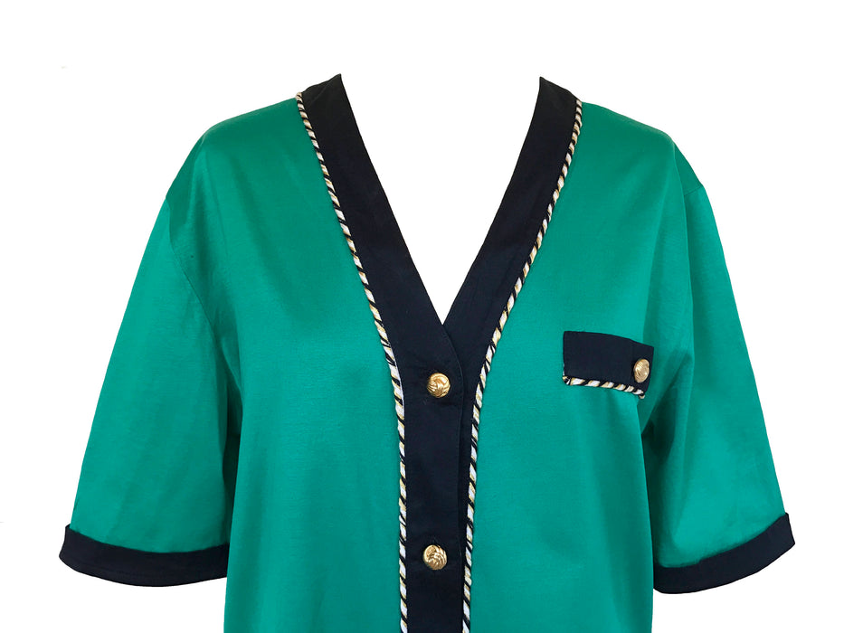 80s Selfridges Turquoise Green Nautical Rope Trimmed Button Up T-Shirt Blouse