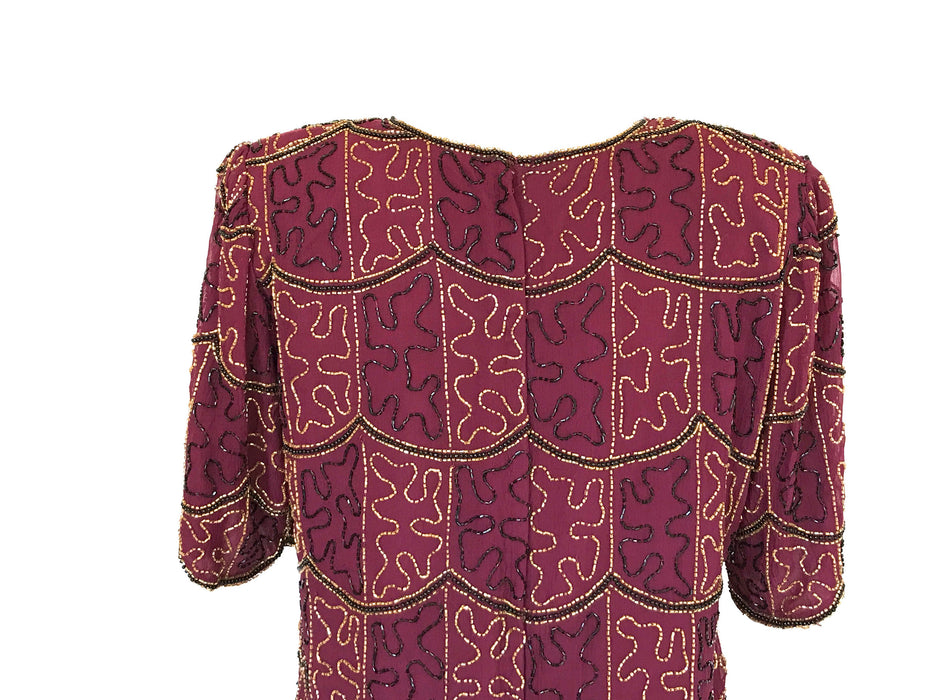 80s Vintage Art Deco Burgundy Wine, Black & Gold Beaded Flapper 20s style Gatsby Top