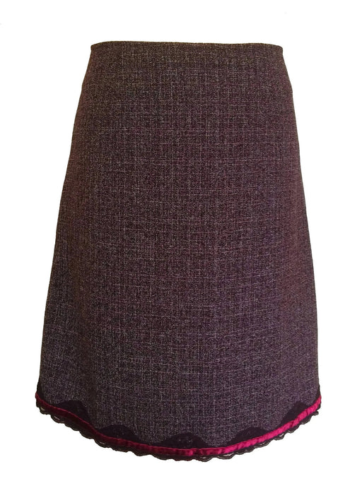 Vintage Carre Rouge Paris Merlot Grape Mix A-Line Skirt with Velvet and Lace Trim, Smart Casual Skirt