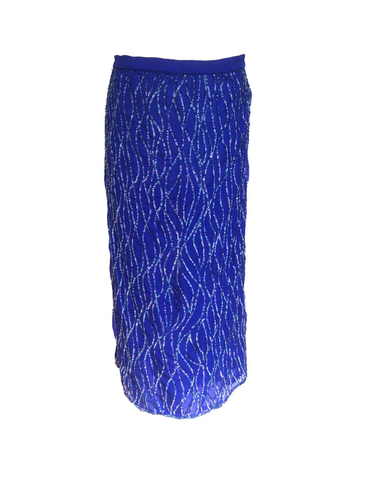 70s-80s Frank Usher Electric Blue Silk Rainbow Sequin Party Occasion Midi Skirt sz L-XL, New Year's Christmas wear