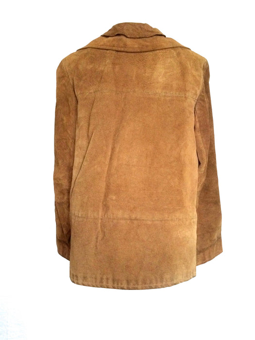 70s Camel Tan Brown Suede Leather Buttoned Jacket