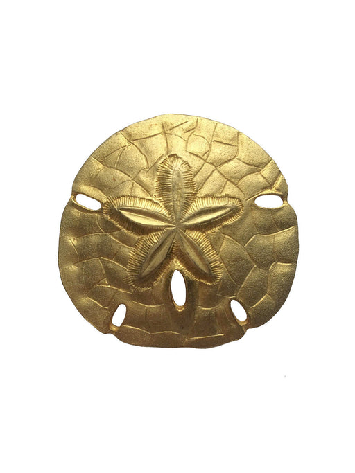 80s Textured Gold Tone Sand Dollar Brooch Pin