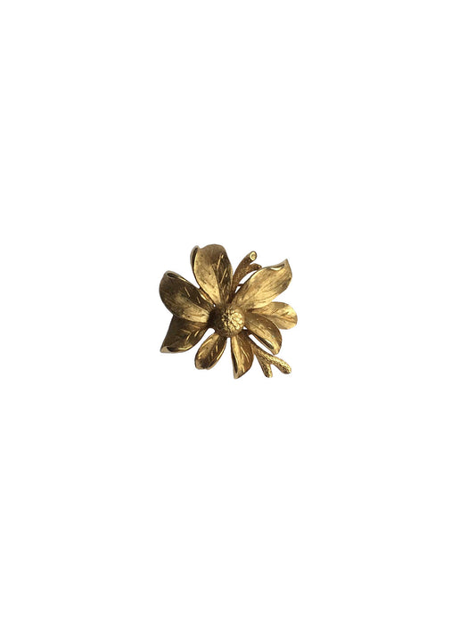 Vintage Textured Gold Tone Metal Blossom Flower Branch Brooch Pin