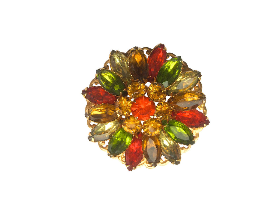 Vintage Autumn Color Multi Color Rhinestone Filigree Brooch Pin Thanksgiving gift, gift for her