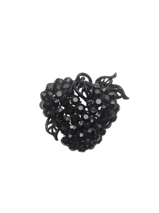 60s Vintage Black Glass Rhinestone Strawberry/Apple Fruit Brooch Pin, GIFT FOR HER