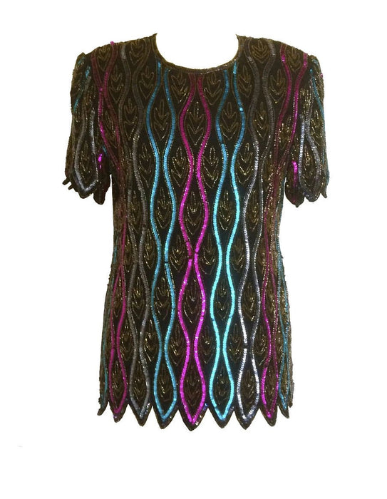 80s Papell Boutique Festive Waves Silk Multicolor Beaded Sequined Evening Party Holiday Top Blouse