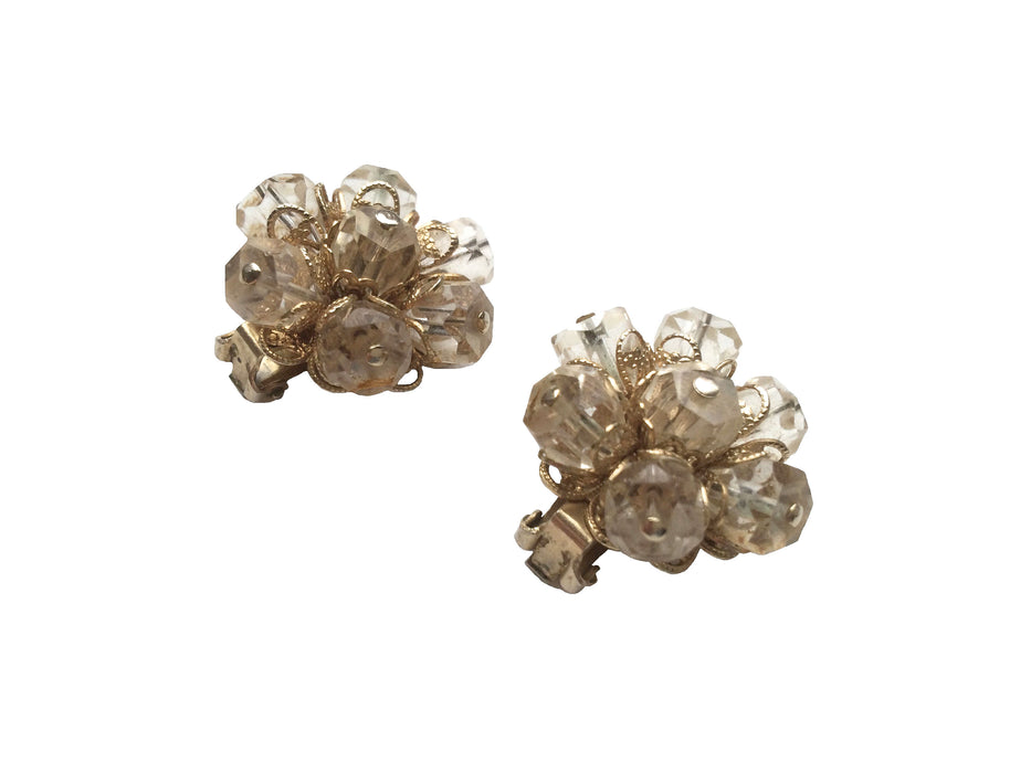 50s Eisenberg Signed Earrings Collectible Clear Beaded Filigree and Gold tone Clip On Earrings, gift for her