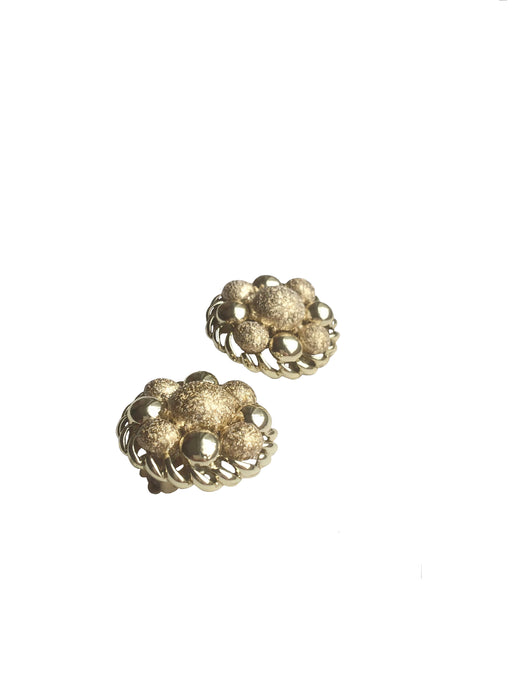 50s-60s Coro Signed Chunky Ball Cluster Earrings in Mod Style with Bold and Structured Gold Tone Finish, Mother's day gift, gift for her