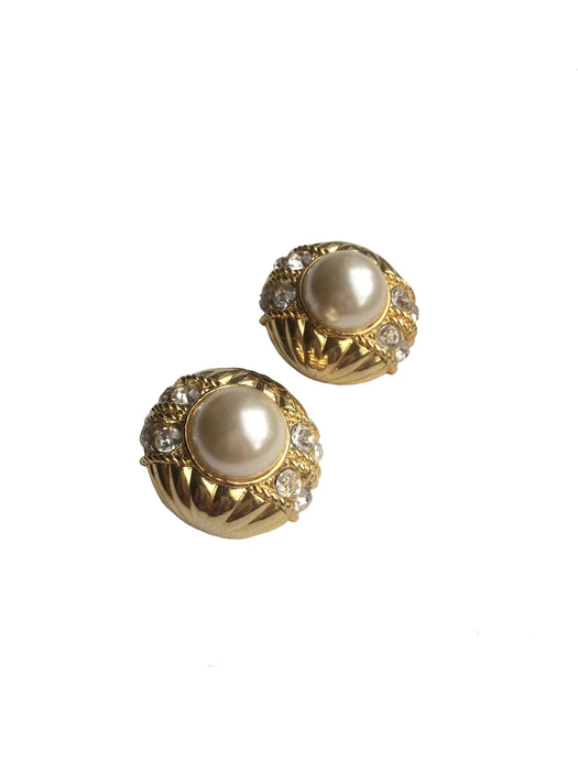 Vintage Rhinestone Earrings, Chunky Faux Pearl and Rhinestone Clip On, Mother's Day gift, gift for her
