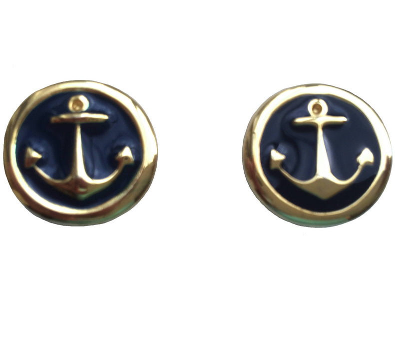 70s Vintage Navy Blue Enamel Nautical sailor Anchor Gold tone Clip on Earrings, summer jewelry, beach jewelry, gift for her, ahoy sailor