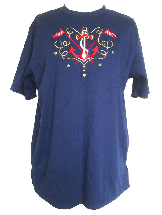 80s Vintage Navy Blue Nautical Anchor Embroidery Soft Cotton Crew Neck T-Shirt