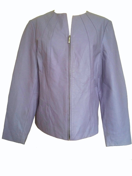 90s Vintage Lavender Genuine Leather Ladies Jacket by Russell Kengs