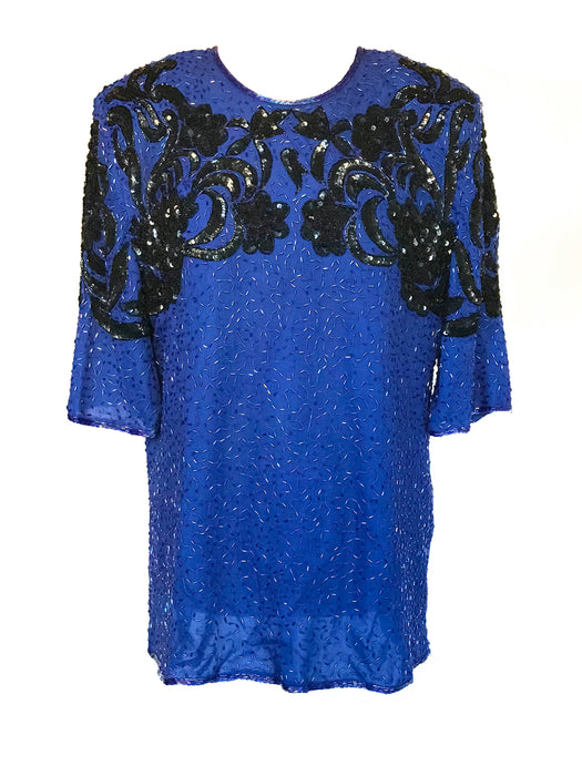 70s-80s Vintage Frank Usher Electric Vibes Sequin Beaded Long Occasion Party Evening Tunic Top Art Deco 20s style Gatsby