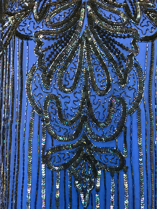 80s Frank Usher Vintage Blue Chiffon Black Iridescent Bead Sequin Flapper Evening Top Gatsby