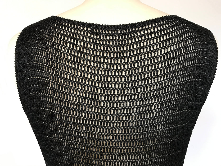 80s Vintage Glam Black Sequin Crochet Net Back Swing Smart Casual Party Occasion Tank Top