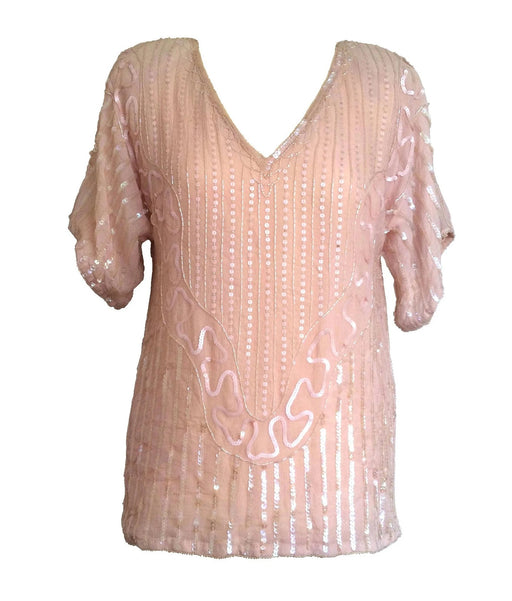 80s Vintage BNWT Frank Usher Pure Silk Coral Blush Sequined Beaded Trophy Evening Top Blouse Dress, gift for her, bridal wedding  Dead Stock