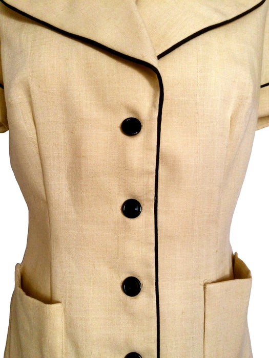 50s Khaki Yellow Short Sleeve Vintage Fitted Sassy Lassy Rock a Billy Rockabilly Linen Blend Summer Mid Century Retro MOD Style Jacket