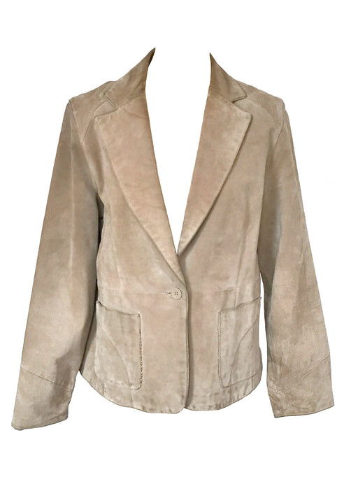 90s Sand Dollar Genuine Suede Leather Single Breast Blazer Vintage Jacket, Plus size Ladies leather suede jacket, ladies jacket Large-XLarge